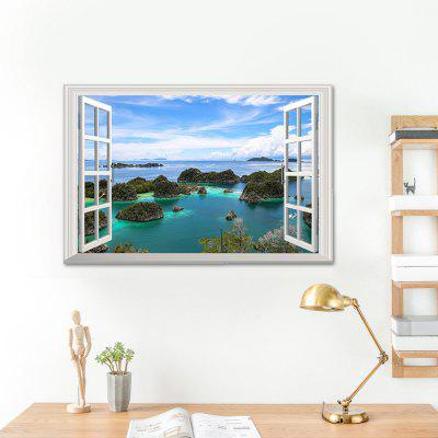 Buy COLORMIX Faux Window 3D Island View Wall Sticker for $6.37 in GearBest store