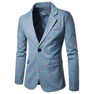 Lapel Splatter Paint One Button Blazer