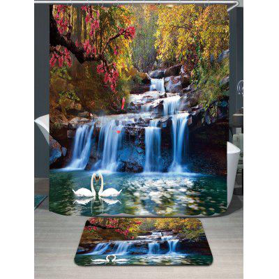 Swans Flowers Cascade Waterproof Shower Curtain Rug Set ...
