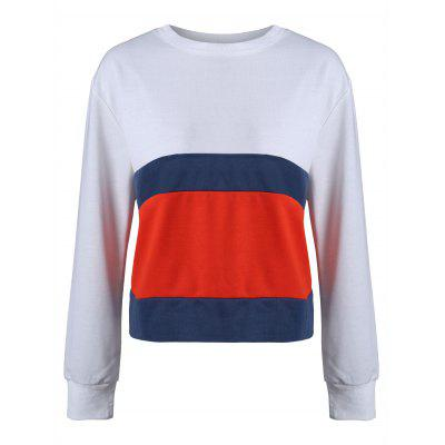 Buy WHITE XL Striped Color Block Casual Sweatshirt for $16.71 in GearBest store