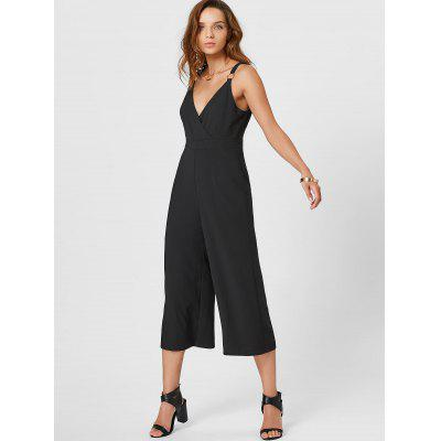 Metal Ring Surplice Jumpsuit