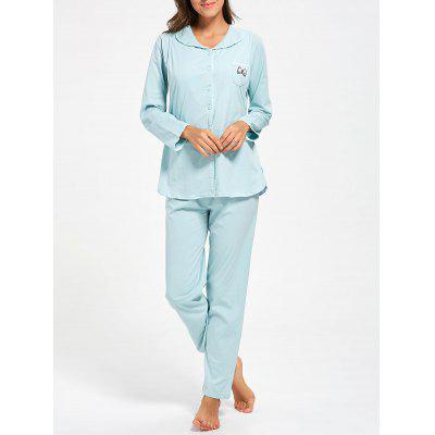 Buy LIGHT BLUE L Cotton Button Up Nursing Pajamas Set for $32.67 in GearBest store