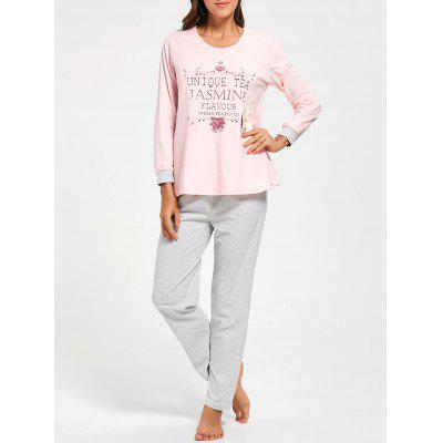 Buy LIGHT PINK M Cotton Printed Nursing Loungewear Set for $31.89 in GearBest store