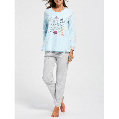 Buy CLOUDY L Cotton Printed Nursing Loungewear Set for $31.89 in GearBest store