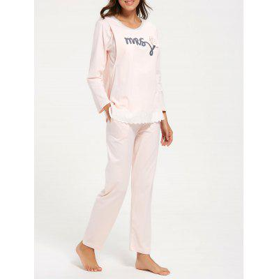 Buy LIGHT PINK XL Cotton Nursing Pajamas Set with Sleeves for $31.98 in GearBest store