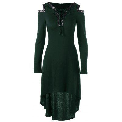 Buy GREEN L Lace Up Cold Shoulder Hooded Dress for $18.39 in GearBest store