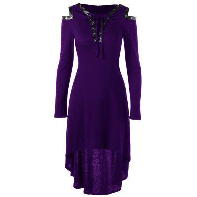 Buy PURPLE L Lace Up Cold Shoulder Hooded Dress for $26.57 in GearBest store