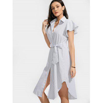 Belted Button Up Stripes Shirt DressWomens Dresses<br>Belted Button Up Stripes Shirt Dress<br><br>Dresses Length: Mid-Calf<br>Material: Cotton, Polyester<br>Neckline: Shirt Collar<br>Occasion: Causal, Day, Going Out<br>Package Contents: 1 x Dress  1 x Belt<br>Pattern Type: Striped<br>Season: Summer<br>Silhouette: Straight<br>Sleeve Length: Short Sleeves<br>Style: Casual<br>Weight: 0.2650kg<br>With Belt: Yes
