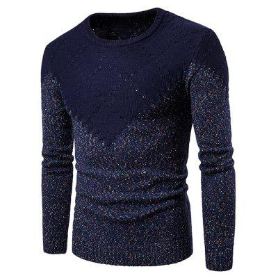 Crew Neck Colorful Knit Blends Textured Weave Sweater