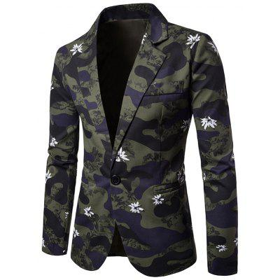 Lapel Camouflage Floral Print One Button Blazer