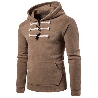 Horn Buttons Front Pocket Fleece Hoodie