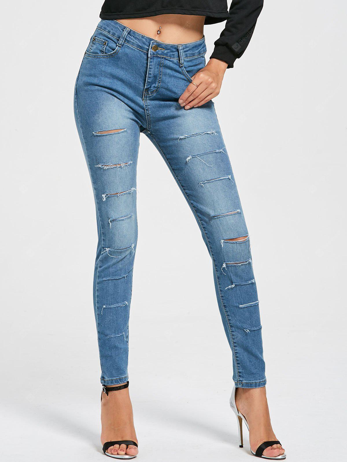 Skinny Layered Distressed Jeans