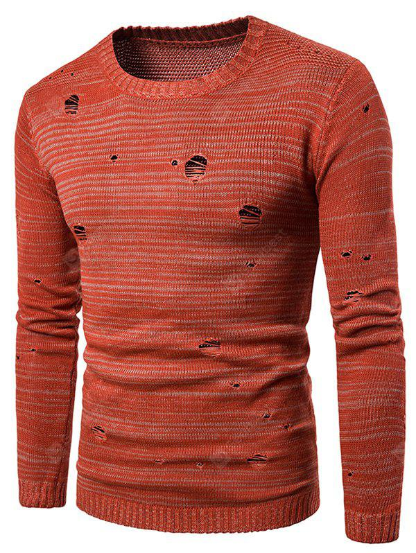 Crew Neck Knit Blends Distressed Sweater
