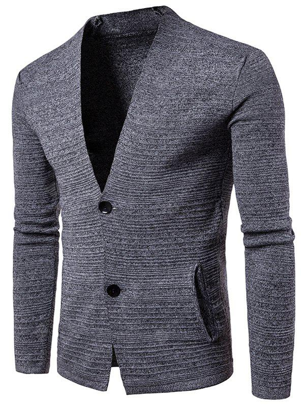 V Neck Button Up Textured Cardigan