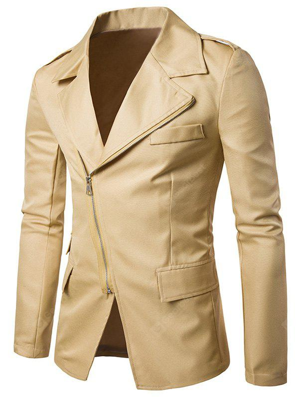 Turndown Collar Zip Up Edging Blazer
