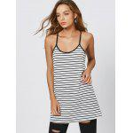 Striped Cami Summer Dress - WHITE AND BLACK