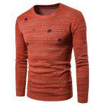 Crew Neck Knit Blends Distressed Sweater - ORANGE RED