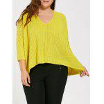 Plus Suze Long High Low Chunky Knit Sweater - YELLOW