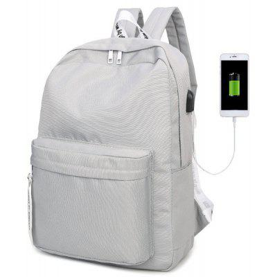 Buy LIGHT GRAY Nylon Zippers USB Interface Backpack for $24.93 in GearBest store