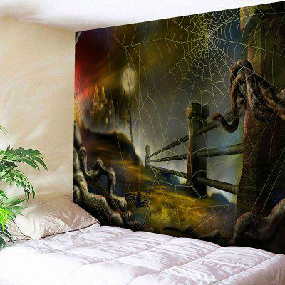 Buy COLORMIX Halloween Spider Web Print Wall Tapestry for $18.42 in GearBest store
