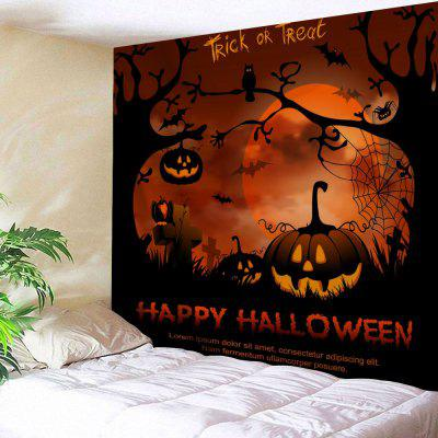 Buy GOLD BROWN Happy Halloween Wall Hanging Tapestry for $9.51 in GearBest store