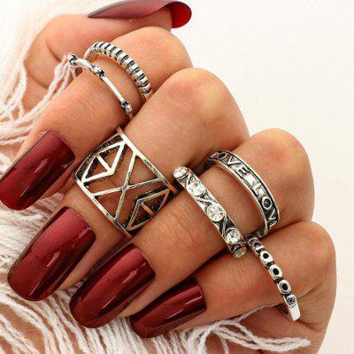 Engraved Love Geometric Finger Ring Set
