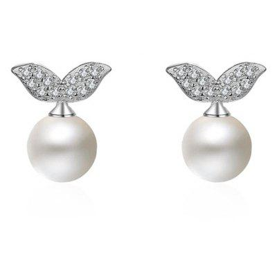 Germinate Shape Stud Earrings with Faux Pearl
