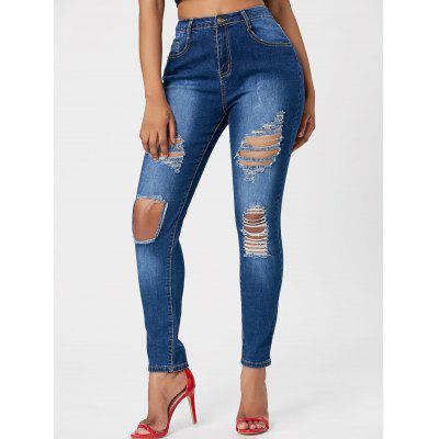 Buy BLUE S Distressed High Rise Jeans for $28.28 in GearBest store