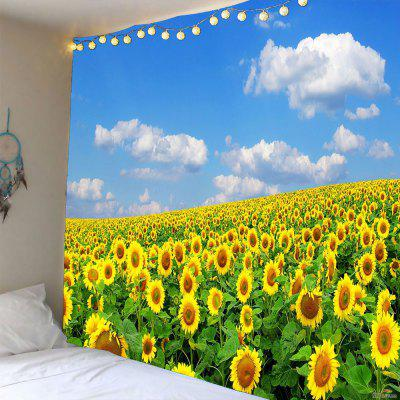 Buy YELLOW Sky and Sunflowers Pattern Waterproof Wall Tapestry for $14.44 in GearBest store
