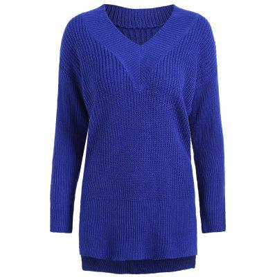 Plus Size Drop Shoulder High Low Sweater