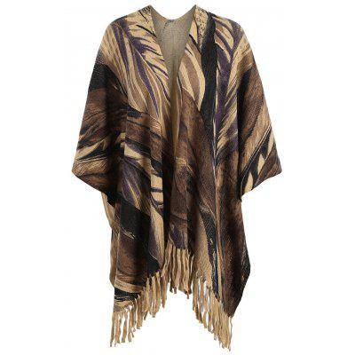 Plus Size Printed Fringed Knit Cape