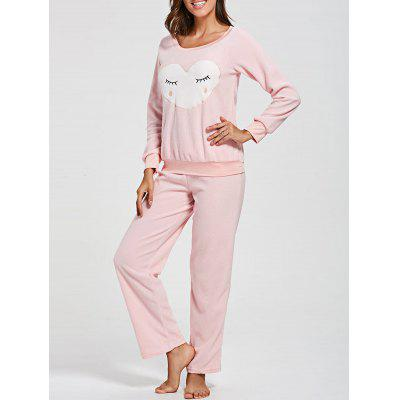 Heart Panel Fleece Sweatshirt with Pants Loungewear Set