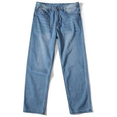 Cremallera Fly Loose Fit Straight Leg Jeans