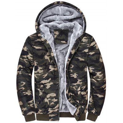 Zip Up Camouflage Flocking Hooded Jacket