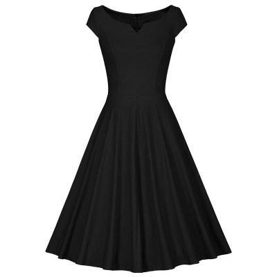 Retro V Neck Skater Fit and Flare Dress