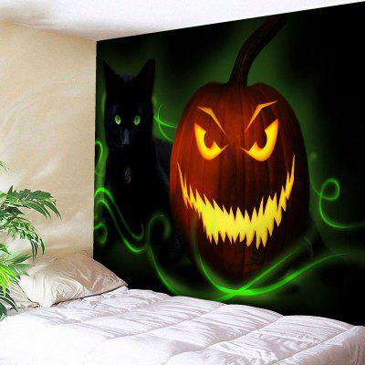Halloween Jack O Lantern Cat Wall Tapestry