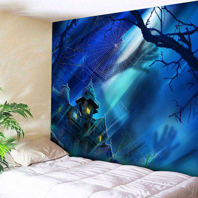 Halloween Castle Spider Web Wall Tapestry