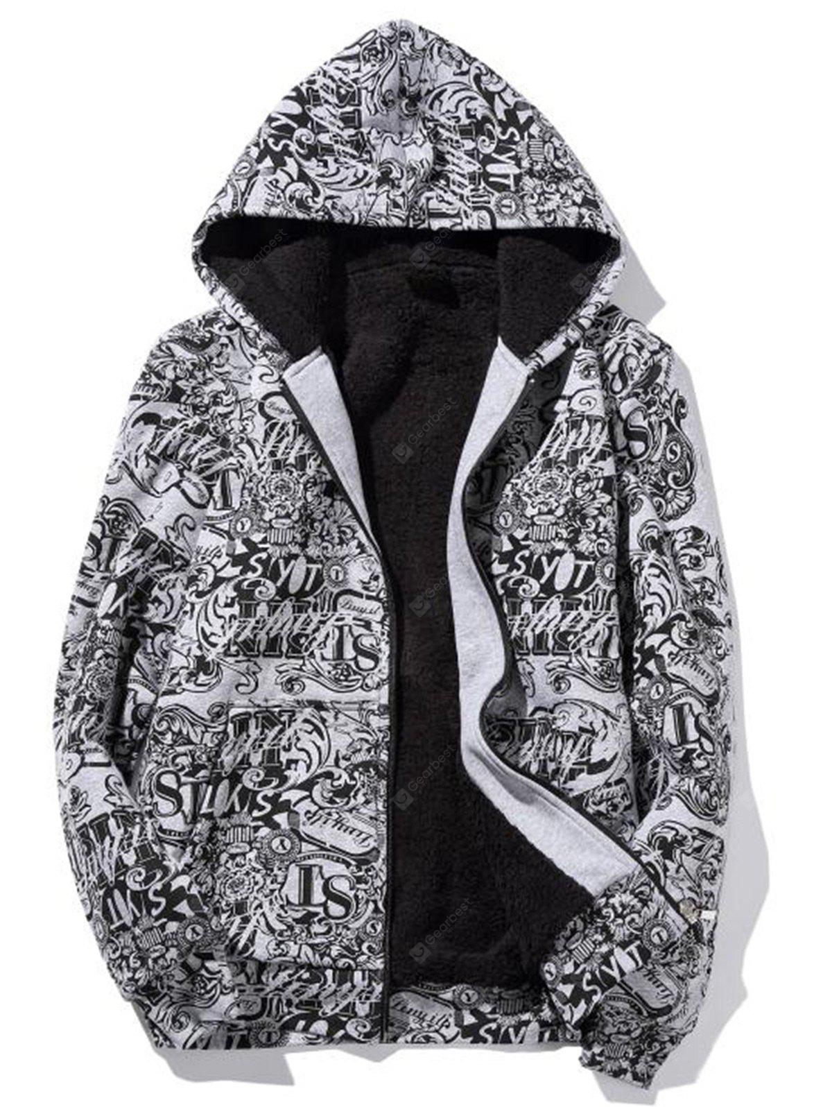 Zip Up Printed Flocking Hoodie