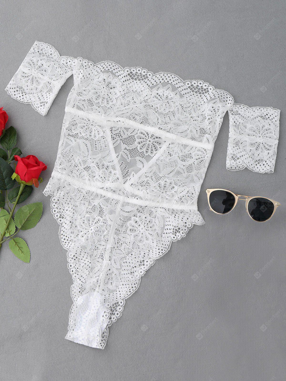 Off The Shoulder See Through Lace Teddy