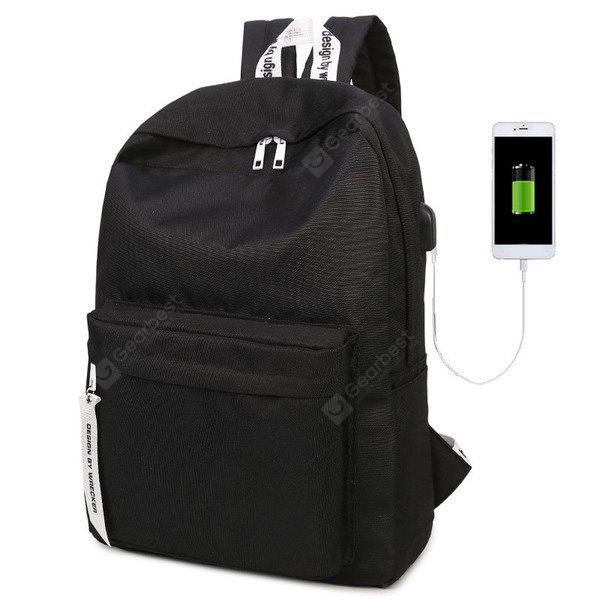 BLACK Nylon Zippers USB Interface Backpack