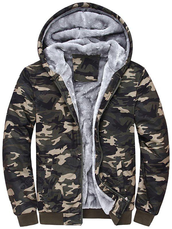 Zip Up Camouflage Flocado Jaqueta com capuz