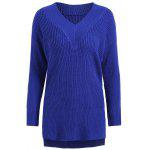 Plus Size Drop Shoulder High Low Sweater - BLUE