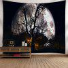 Halloween Moon Night Wall Decor Tapestry - BLACK