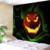 Halloween Jack O Lantern Cat Wall Tapestry - GREEN