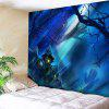 Halloween Castle Spider Web Wall Tapestry - BLUE