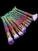 10Pcs Ombre Hair Mermaid Handle Makeup Brushes Set - RED AND GREEN