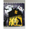 Halloween Night Witch Print Fabric Bathroom Shower Curtain - BLACK