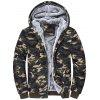 Zip Up Camouflage Flocking Hooded Jacket - CAMOUFLAGE