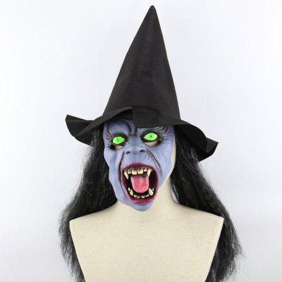 Halloween Witch Printed Mask Cap With Wig
