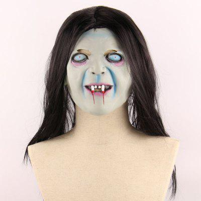 Halloween Horrible Ghost Printed Mask With Wig